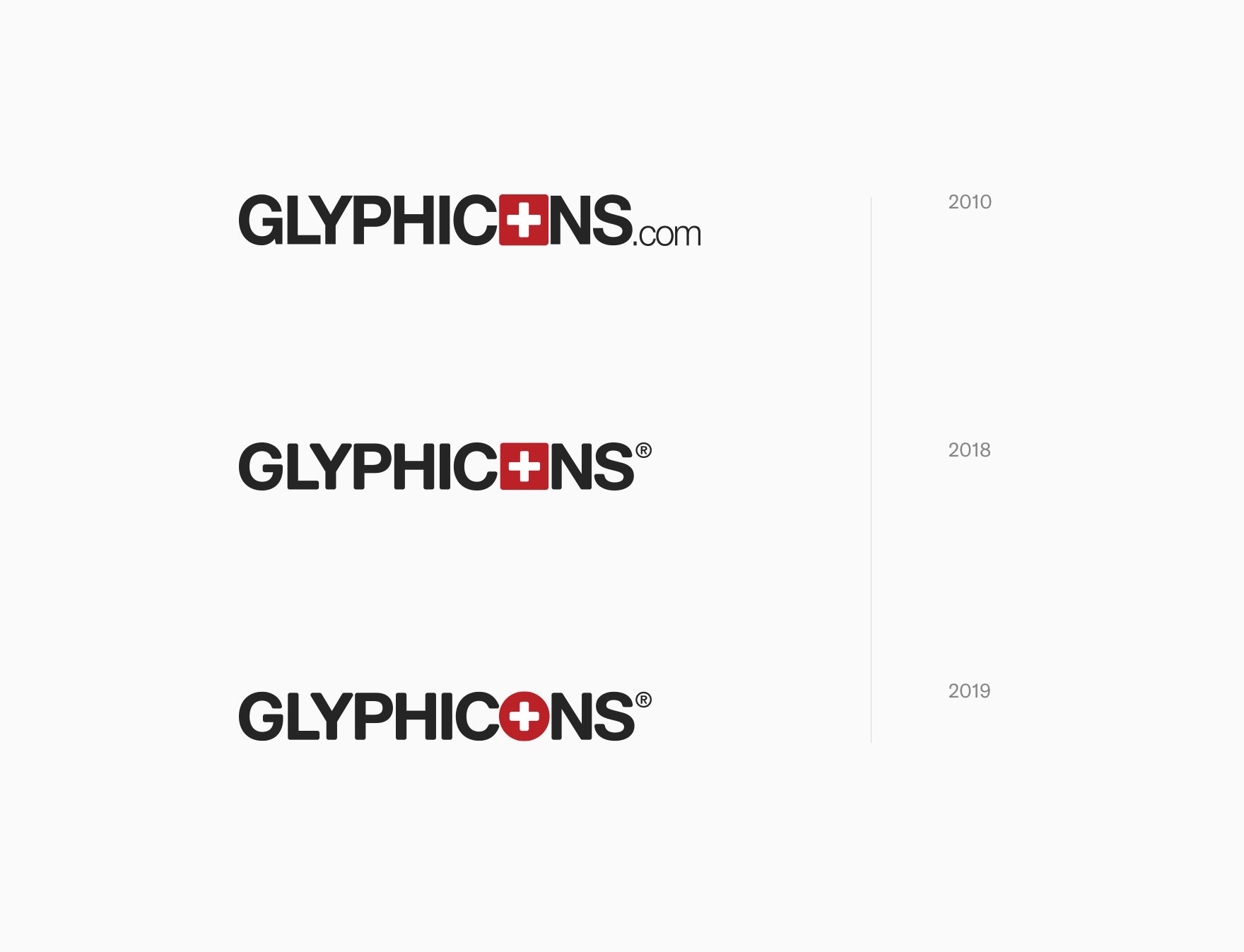 Evolution of GLYPHICONS logo